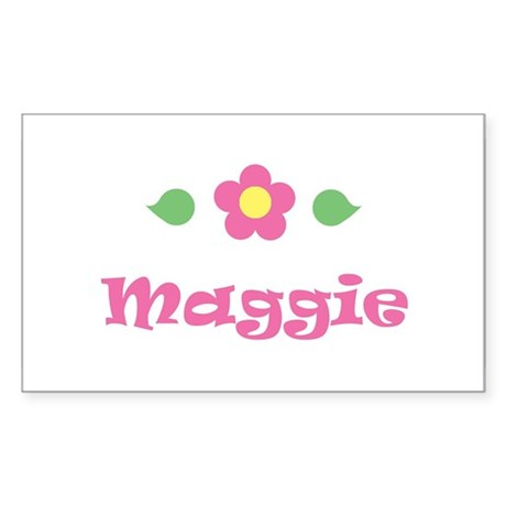 "Pink Daisy - ""Maggie"" Rectangle Sticker"