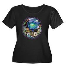 Eco Plan Women's Plus Size Dark Scoop Neck T-Shirt