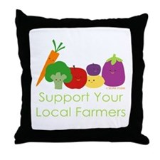 """Support Your Local Farmers"" Throw Pillow"