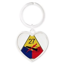 27th Armored Division Heart Keychain