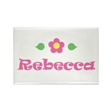 "Pink Daisy - ""Rebecca"" Rectangle Magnet"