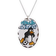 PENGUIN SOCCER t-shirt Necklace Oval Charm