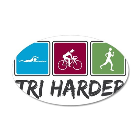 tri harder_2_colors 35x21 Oval Wall Decal