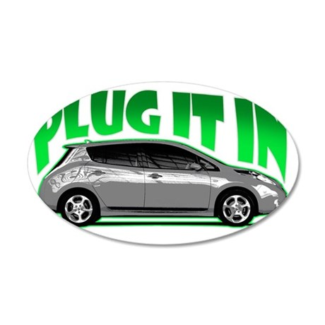 Nissan Leaf Plug it in Elect 35x21 Oval Wall Decal