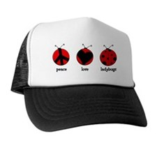 PeaceLoveLadibugs_3x5Sticker Trucker Hat