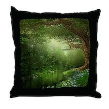 Summer Forest River Throw Pillow