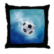 Soccer Water Splash Throw Pillow