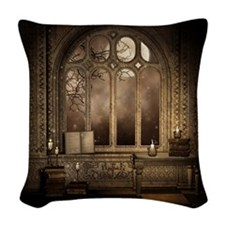 Gothic Library Window Woven Throw Pillow