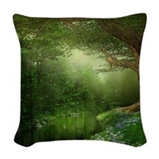 Summer Forest River Woven Throw Pillow