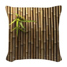 Bamboo Wall Woven Throw Pillow