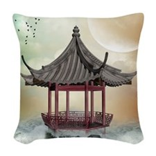 Oriental Gazebo Woven Throw Pillow