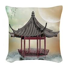 Oriental Gazebo Woven Throw Pillow