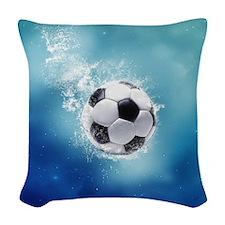 Soccer Water Splash Woven Throw Pillow