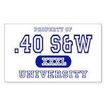 .40 S&W University Rectangle Sticker