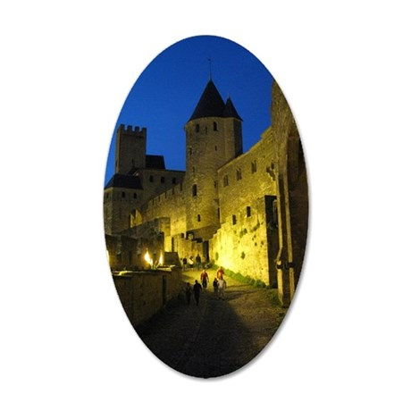 postcard carcassonne Evening 35x21 Oval Wall Decal