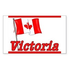 Canada Flag - Victoria Text Rectangle Decal
