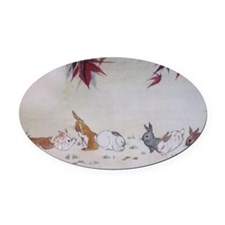 Rabbit Nap Oval Car Magnet