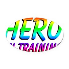 hero in training adult 10x4_appare Oval Car Magnet