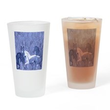 blue horses design Drinking Glass