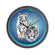 White Tigers -circle Wall Clock