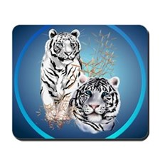 White Tigers -circle Mousepad