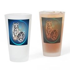 White Tigers -circle Drinking Glass