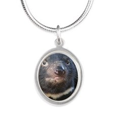 TasmanianDevil2 Silver Oval Necklace