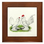 White d'Uccle Bantams Framed Tile