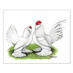 White d'Uccle Bantams Small Poster