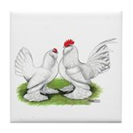 White d'Uccle Bantams Tile Coaster