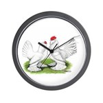 White d'Uccle Bantams Wall Clock
