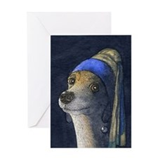 journal dog with a pearl earring Greeting Card