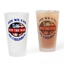 WAR ON CHILDREN FRONT blue ltrs red Drinking Glass