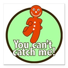 "gingerbread_man_green_la Square Car Magnet 3"" x 3"""