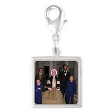 Lincoln Family Silver Square Charm