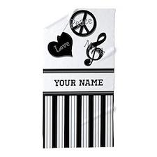 Love, Peace, Music Monogram Beach Towel