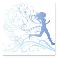 "runner_girl_blue Square Car Magnet 3"" x 3"""