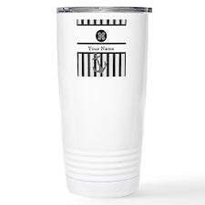 Black and White Stripe Monogram Thermos Mug