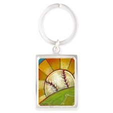 A Great Day for Baseball Portrait Keychain