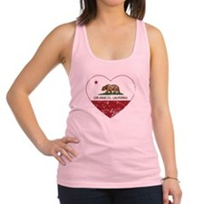 california flag los angeles heart distressed Racer