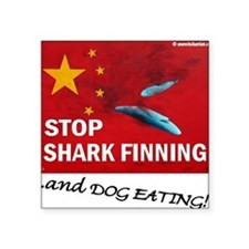 "shark-finning-dogs Square Sticker 3"" x 3"""