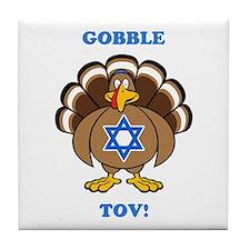 PERSONALIZE Thanksgiving Hanukkah Tile Coaster