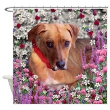Trista the Rescue Dog in Flowers Shower Curtain