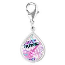 Girls Rock Silver Teardrop Charm