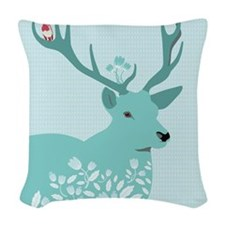 Blue Deer, Woven Throw Pillow