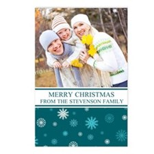 Teal Snow Christmas Photo Postcards (Package Of 8)