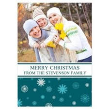 Teal Snowflakes Christmas Family 5X7 Flat Cards