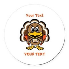 Personalize Little Gobbler Round Car Magnet