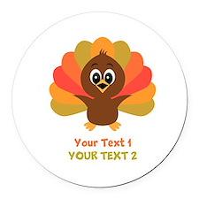 Personalize Little Turkey Round Car Magnet