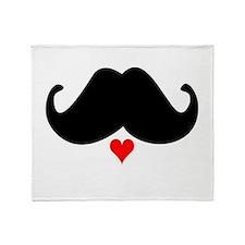 Speak LOVE out loud moustache oo Throw Blanket